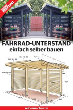 Build a bike shelter yourself: Free instructions - # to . - Build a bike shelter yourself: Free instructions – - Great Buildings And Structures, Outdoor Structures, Build Your Own Bike, Bike Shelter, Bike Shed, Diy Outdoor Furniture, Garden Care, Garden Planters, Play Houses
