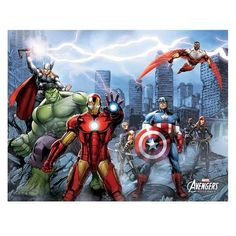 Marvel Avengers Assemble Avenger City Large Canvas Print 22 x 28 * Visit the image link more details. Note:It is affiliate link to Amazon.