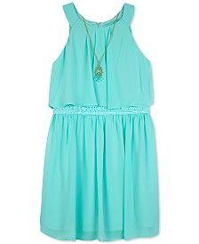 BCX Crochet Popover Dress & Necklace Set, Big Girls (7-16)