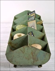 Craft Storage: Re-Use, Recycle, Re-Purpose - Upcycled Metal Storage, Metal Compartment Tray via Haven Vintage (image)