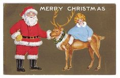 Santa Claus Holding Reindeer w/ Girl in Blue Riding~Whitney~Christmas~1914+ #Christmas