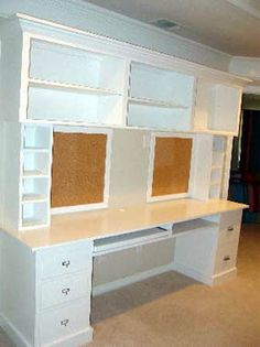 built in desk- craft room or office? or type of interim buffet for dining room Built In Desk, Built Ins, Do It Yourself Furniture, Diy Furniture, Double Desk, Craft Room Storage, Craft Rooms, Box Storage, Paper Storage
