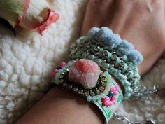 Dreamy.  #boho #coachella #bracelets #mint #bohemian #pompom #pink
