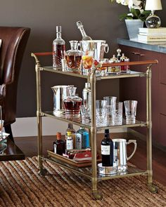 If you like the idea of mini-bar at home just do it. Impress your guests with your own fancy mini-bar. Mini Bars, Bar Cart Styling, Bar Cart Decor, Mini Bar At Home, Bars For Home, Modern Restaurant, Restaurant Interior Design, Buffets, Bar Vintage