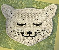 Ravelry: Project Gallery for Wynken, Blynken and Nod Potholder Set pattern by Lily Mills Company Crochet Skull Patterns, Crochet Potholder Patterns, Crochet Cat Pattern, Crochet Geek, Form Crochet, Crochet Dishcloths, Crochet Gifts, Crochet For Kids, Baby Knitting Patterns
