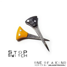 Bladetricks Stop Switch EDC push daggers, yellow & black G10 scales