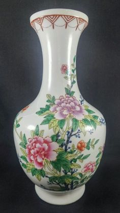 """Vintage Chinese Famille Rose Large Peonies Butterflies Vase 32cm 12.5"""" in Pottery, Glass, Pottery, Porcelain, Asian, Oriental 