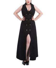 Black Double-Breasted Sleeveless Coat - Plus Too