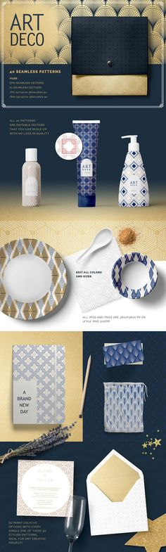 Art Deco Seamless Patterns - Patterns #illustration digital paper clipart #graphics blog backgrounds -ad