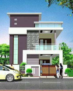 Explore the best new residential interior designs and Building floor plans as per Vasthu Sastra guidelines. House Outer Design, Modern Small House Design, House Outside Design, Modern Exterior House Designs, Latest House Designs, House Front Design, 2 Storey House Design, Bungalow House Design, Home Building Design