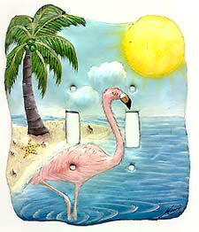 Switchplate Covers, Light Switch, Flamingo Switch Plate Cover- Hand Painted Metal Tropical Decor - Flamingo Light Switch Cover - by SwitchPlateDecor on Etsy Art Tropical, Tropical Wall Decor, Tropical Design, Tropical Birds, Decorative Light Switch Covers, Switch Plate Covers, Switch Plates, Painted Metal, Hand Painted