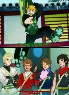I think they wouldn't do that if they know at that point that Lloyd was the green ninja, but still so cool Lloyd Ninjago, Ninjago Kai, Ninjago Memes, Lego Ninjago Movie, Lego Movie, Ninjago Cole, Arte Ninja, Kids Shows, Legos