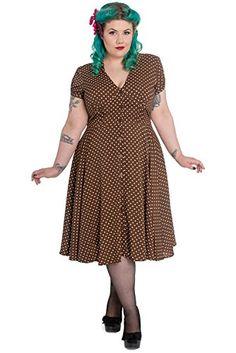 Hell Bunny Plus 1940s Style Brown Polka Dot Flowy Classic Shirt Dress (XXXL) - http://plus-size.reviewsbrand.com/hell-bunny-plus-1940s-style-brown-polka-dot-flowy-classic-shirt-dress-xxxl.html