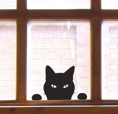 Cat Window Sticker  Cat Wall Sticker Peeping Tom by jolyonyates, $15.95
