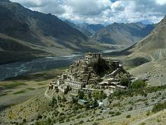 Key Gompa, 11th Century Tibetan Buddhist Monastery, in the Spiti Valley of Himachal Pradesh, India