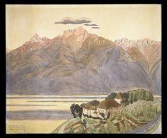 Jens Ferdinand Willumsen (1863-1958), La Montagne sur l'autre bord du Lac est colorée de rouge par le Soleil - 1901