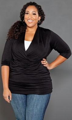 Love this top -- plus size, stylish, simple, dresses up or down-- several colors