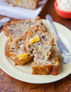 Pineapple Coconut Oil Banana Bread ~ You could also substitute the 2 cups all purpose flour with 1/4 cup coconut flour and add 4 more eggs.  Now you would have gluten free banana bread!