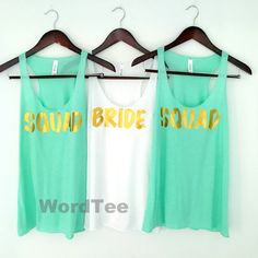 Bachelorette Party Shirts Mint Green Squad Bride Shirts by WordTee