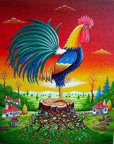 Oil on Canvas 'Serbian rooster' by Zarić Zoran