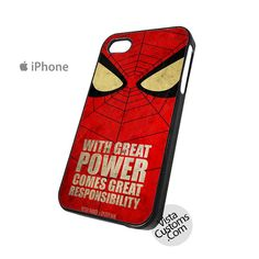 red spiderman with great power comes great responsibility Phone Case For Apple, iphone 4, 4S, 5, 5S, 5C, 6, 6 +, iPod, 4 / 5, iPad 3 / 4 / 5, Samsung, Galaxy, S3, S4, S5, S6, Note, HTC, HTC One, HTC One X, BlackBerry, Z10