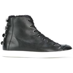 Borbonese studded hi-top sneakers (19.415 RUB) ❤ liked on Polyvore featuring shoes, sneakers, black, black trainers, black hi top sneakers, black high tops, leather high tops and black leather high tops