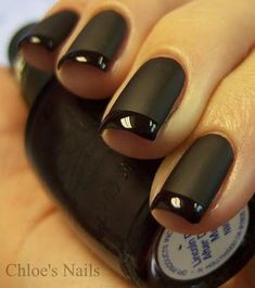 awesome matte + glossy all-black french manicure