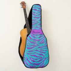 Turquoise Purple Zebra Stripe Animal Print Guitar Case - stripes gifts cyo unique style