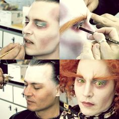 Johnny Depp (becoming the Mad Hatter) in Tim Burton's Alice in Wonderland. The eyebrows really stick out and help to add to the crazy look of the character. Makeup Fx, Movie Makeup, Face Makeup, Johnny Depp Personajes, Mad Hatter Makeup, Johnny Depp Mad Hatter, Karneval Diy, Johny Depp, Character Makeup