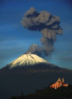 Popocatepetl, the most active volcano in Mexico.