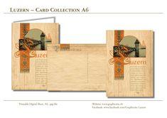Einzigartige wunderschöne Postkarte zum Selberdrucken. LUZERN ~ mit Wasserturm, Kapellbrücke, Reuss. Format A6!  #Luzern, #lucerne, #switzerland, #swiss, #mountains, #postcard, #Postkarte, #grusskarte, #greetingcards, #basteln, #cardmaking, #scrapbooking, #vintage, #paper, #crafts,