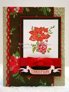 Stampin' Up! Pines and Poinsettias handmade Christmas card