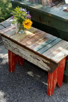 cute little reclaimed-mismatchy bench