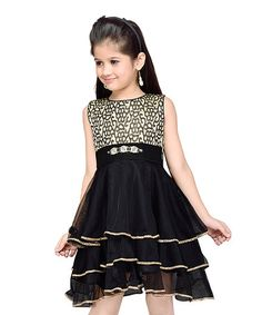 Loving this Black & Gold Sequin Layered Sleeveless Dress - Toddler & Girls on #zulily! #zulilyfinds