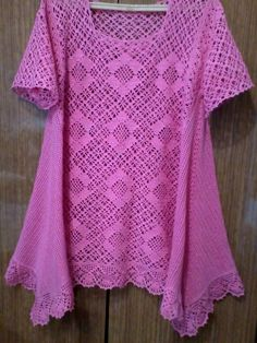 Hobbies And Crafts Short Sleeve Dresses Crochet Smock Tops Farmhouse Rugs Clothing Apparel Crochet Tunic, Filet Crochet, Crochet Clothes, Crochet Top, Short Sleeve Dresses, Dresses With Sleeves, Crochet Fashion, Hobbies And Crafts, Pull