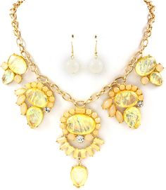 TEAR DROP MARQUISE SHAPE OVAL NECKLACE AND EARRING SET ONLY $15.88
