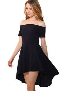 Women s Sexy Off the Shoulder Black Swallowtail Party Club Solid Color Dresses  Woman Fashion Slash Neck Summer Dress 56c2ce76772c