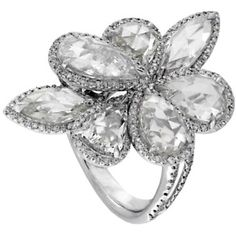 Avakian Jewelry White Gold Floral Ring as seen on Paris Hilton