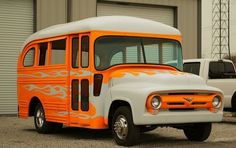 A cool old School Bus that I saw in a parking lot. A Too Cool For School Bus Old School Bus, School Buses, 56 Ford Truck, U Haul Truck, Bus Art, Converted Bus, Rv Bus, Buses For Sale, Short Bus