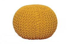 MAJESTIK Knitted Pouf - Yellow Knitted Pouf, Chair And Ottoman, Outdoor Furniture, Outdoor Decor, Living Room Furniture, Yellow, Farmhouse, Bedroom, Home Decor