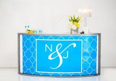 Monogram bar from AFR Event Furnishings in styled shoot by Simply Mox. Photo by John Cain Photography. #wedding #bar #blue #monogram