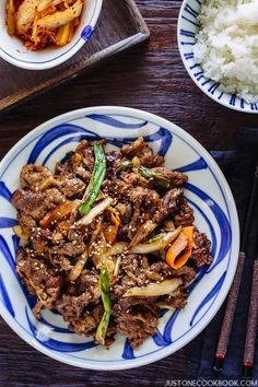 Bulgogi (Korean Grilled Beef) - A classic Korean grilled beef, is so easy to make and fun to eat with friends and family. Tender pieces of caramelized beef with crunchy sweet vegetables, this flavorful grilled meat needs to make an appearance on your dinner soon! You can grill on a barbecue or on a stove-top griddle. #grilledbeef #BBQbbef #beefrecipes #bulgogirecipe #korean #koreanbbq #koreanfood   Easy Japanese Recipes at JustOneCookbook.com Bulgogi Marinade, Korean Grill, Meat Recipes, Korean Recipes, Easy Japanese Recipes, Japanese Food, Chinese Food, Chinese Recipes, Cooking Recipes