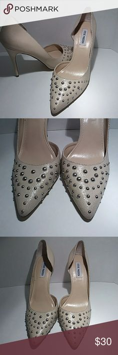 "Steve Madden nude heels with studs Suoer cute leather heels with studs in good condition 4.5"" heels Steve Madden Shoes Heels"