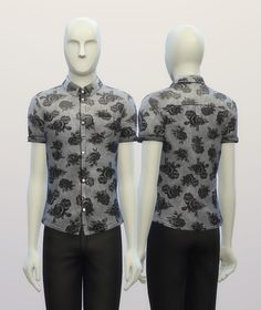 Cuffed Black rose patterned shirt at Rusty Nail via Sims 4 Updates