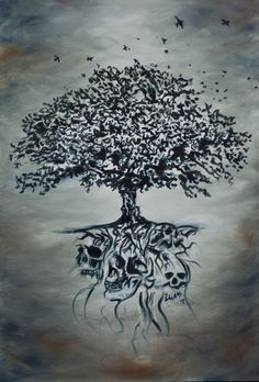 """Rooted Skulls"" by iLLeBaS  Oil on Canvas"