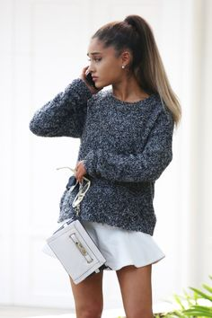 Ariana Grande wearing Coach Swagger Wristlet, Supertrash Sudo Skirt and Topshop Gray Boucle Slouchy Jumper