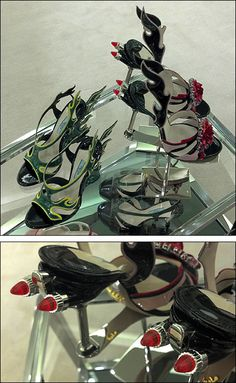 But these Prada Flaming Tail Lights Shoes equipped with rear lights are point-of-purchase promotion and merchandise combined. Swag Shoes, Lit Shoes, Dark Fashion, Fashion Shoes, Shoe Display, Tail Light, Visual Merchandising, Watercolor Art, Venice