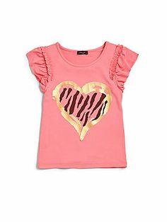 Imoga Toddler's & Little Girl's Zebra Heart Top