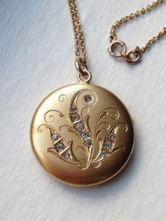 Antique Victorian Edwardian Swirl Floral Gold Filled Locket with Brilliant Rhinestones, Wedding Locket Necklace, 1900s