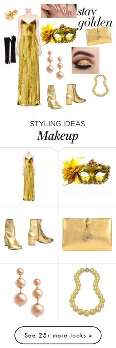 """""""Masquerade Ball"""" by crazycatladiesunite on Polyvore featuring Galvan, Masquerade, Jennifer Behr, Marcus Adler, Roberto Cavalli, Marian, Kate Spade, Bling Jewelry and gold"""